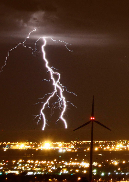 Gene Blevins of the L.A. Daily News sent in this photo of lightning seen from the Antelope Valley on Tuesday, Oct. 19, 2010.  When You Witness breaking news, or even something extraordinary, send pictures and video to video@myabc7.com, or send them to @abc7 on Twitter <span class=meta>(Gene Blevins of the L.A. Daily News)</span>