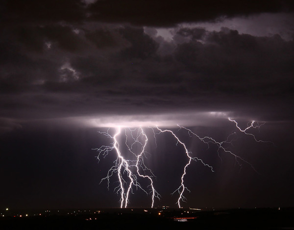Gene Blevins of the L.A. Daily News sent in this photo of lightning seen from the Antelope Valley on Tuesday, Oct. 19, 2010.