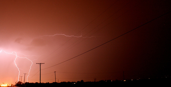 ABC7 viewer Christian Patterson sent in this photo of lightning seen from Victorville on Tuesday, Oct. 19, 2010.