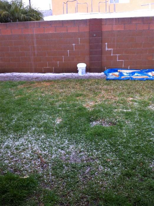 ABC7 viewer Desiree Davis sent us this photo via Facebook of hail in Santa Ana, Calif. during a storm that hit Southern California on Friday, Feb. 8, 2013. &#160;When You Witness breaking news, or even something extraordinary, send pictures and video to video@abc7.com, or post them to the ABC7 Facebook page or to @abc7 on Twitter  <span class=meta>(ABC7 viewer Desiree Davis)</span>