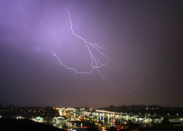 ABC7 viewer Heidi Giacalone sent in this photo of lightning in Stevenson Ranch on Tuesday, Oct. 19, 2010.  When You Witness breaking news, or even something extraordinary, send pictures and video to video@myabc7.com, or send them to @abc7 on Twitter <span class=meta>(ABC7 viewer Heidi Giacalo)</span>