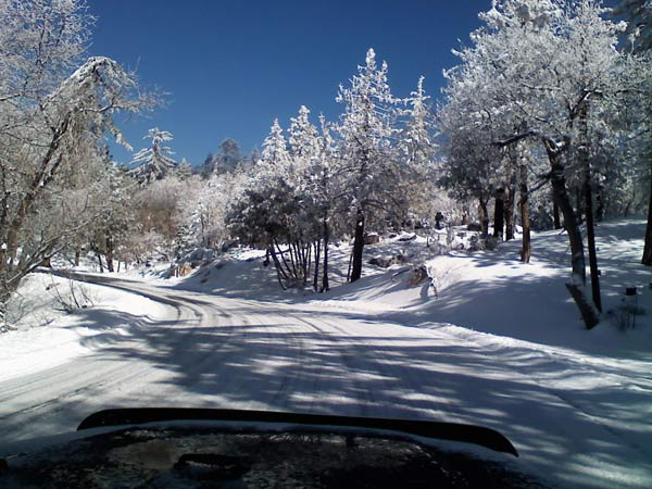 ABC7 viewer Kathy Thurow sent in this photo of snow in Running Springs, Calif. on Saturday April 9, 2011.