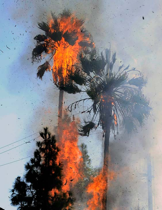 Hot temperatures reaching over 110&#43; degrees and usage of air-conditioners help caused a transformer exploded at the intersection of Fulton Ave. and Valleyhart Dr. &#160;Submit your &#39;hot shots&#39; to  Eyewitness News, or send them to video@myabc7.com. <span class=meta>(Gene Blevins&#47;L.A. Daily News)</span>