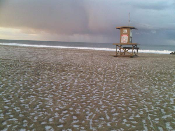 "<div class=""meta ""><span class=""caption-text "">ABC7 viewer Bill Spitalnick sent in this photo of hail in Newport Beach, Calif. near the 48th Street lifeguard station on Saturday April 9, 2011.  When You Witness breaking news, or even something extraordinary, send pictures and video to video@myabc7.com, or send them to @abc7 on Twitter  (KABC photo/ Bill Spitalnick)</span></div>"