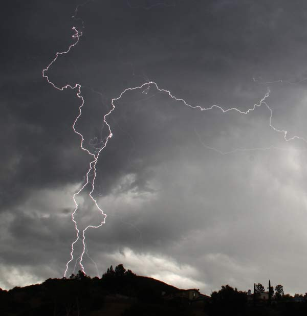 Lightning is seen across the skies over Glendale Collage as the third day of storms pass through the Southland. <span class=meta>(Gene Blevins, L.A. Daily News)</span>