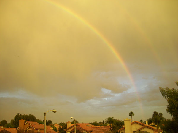ABC7 viewer Don Leonard sent in this photo of a double rainbow in Rancho Cucamonga following a rain storm on Friday, Oct. 1, 2010.  &#160;When you witness breaking news happen, send your photos to video@myabc7.com, or send them to @abc7 on Twitter <span class=meta>(ABC7 viewer Don Leonard)</span>