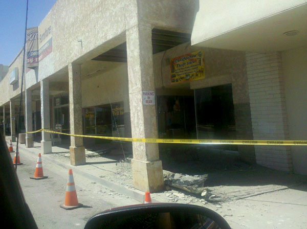 This photo posted to the ABC7 Facebook wall by viewer Yulil Alonso-Garza shows damage from a series of small to moderate earthquakes that rattled the Imperial County city of Brawley near the U.S.-Mexico border Sunday, Aug. 26, 2012.