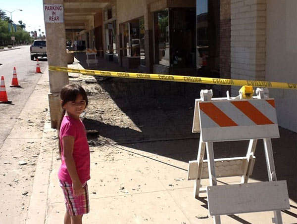 This photo provided by ABC7 viewer Jason Cobb shows damage from a series of small to moderate earthquakes that rattled the Imperial County city of Brawley near the U.S.-Mexico border Sunday, Aug. 26, 2012.