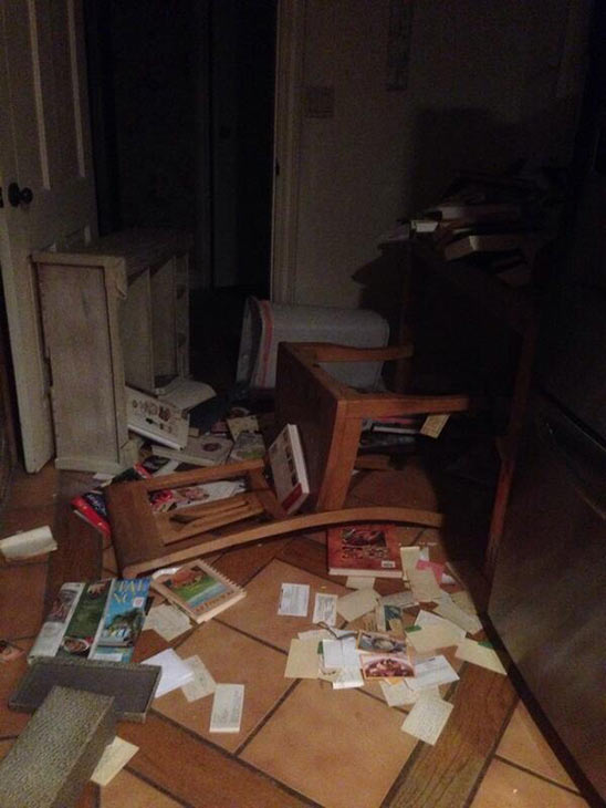 ABC7 viewer  @KellieStanfield sent in this photo of a toppled bookshelf in Woodland Hills via Twitter on Monday, March 17, 2014. When You Witness breaking news, or even something extraordinary, send pictures and video to video@abc7.com, or post them to the ABC7 Facebook page or to @abc7 on Twitter. <span class=meta>(Kellie Stanfield)</span>