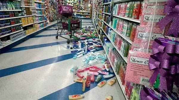 ABC7 viewer Aracely Felix shared this photo on our Facebook page of a 99 Cents Only store in Colton following a 5.1 earthquake near La Habra on Friday, March 28, 2014. When You Witness breaking news, or even something extraordinary, send pictures and video to video@abc7.com, or post them to the ABC7 Facebook page or to @abc7 on Twitter. <span class=meta>(Aracely Felix)</span>