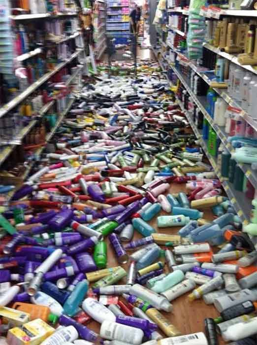 ABC7 viewer Ivan Meza shared this photo on our Facebook page of a big mess at a Wal-Mart store in La Habra following a 5.1 earthquake on Friday, March 28, 2014. <span class=meta>(Ivan Meza)</span>