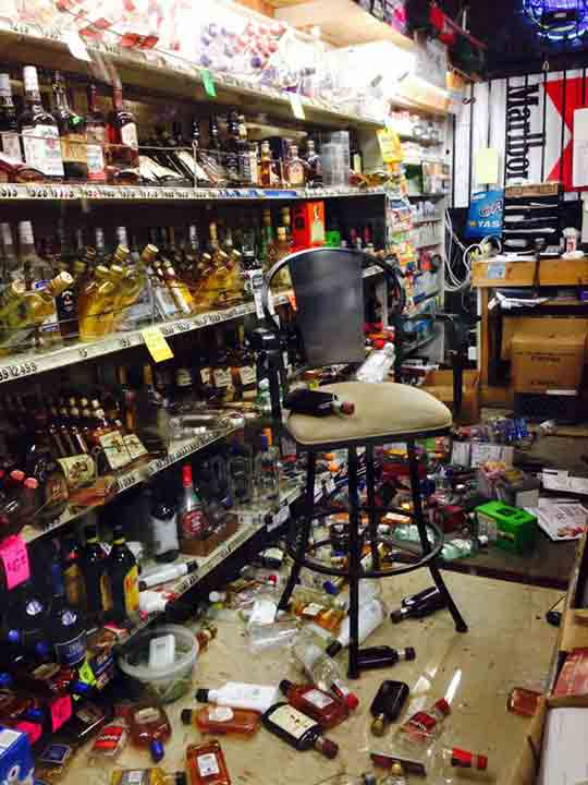 ABC7 viewer Nelly Melendez shared this photo on Facebook of damage at a liquor store in Rowland Heights near La Habra on Friday, March 28, 2014.When You Witness breaking news, or even something extraordinary, send pictures and video to video@abc7.com, or post them to the ABC7 Facebook page or to @abc7 on Twitter. <span class=meta>(Nelly Melendez)</span>
