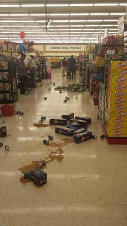 ABC7 viewer Victoria Miller shared this photo on Facebook of damage at a Stater Bros. supermarket in Anaheim following a 5.1 earthquake near La Habra on Friday, March 28, 2014.When You Witness breaking news, or even something extraordinary, send pictures and video to video@abc7.com, or post them to the ABC7 Facebook page or to @abc7 on Twitter. <span class=meta>(Victoria Miller)</span>