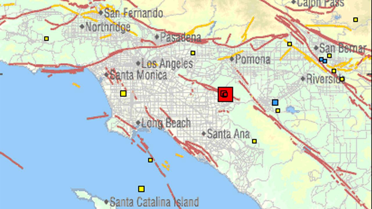 This image captured from the U.S. Geological Surveys website shows a 4.4-magnitude earthquake, pinned by the larger red box, and subsequent, smaller aftershocks within the red box.