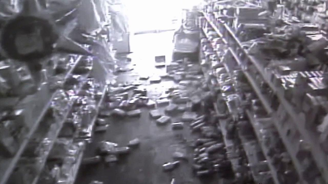 Surveillance video shows products thrown off store shelves during a series of earthquakes that struck the Imperial County city of Brawley on Sunday, Aug. 26, 2012.