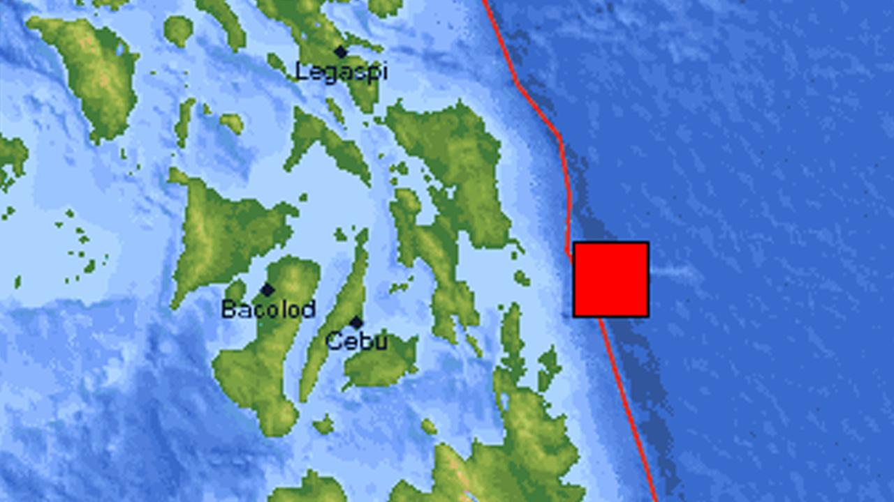 A U.S. Geological Survey map shows the location of an earthquake that struck the waters off the shore of the eastern Philippines on Friday, Aug. 31, 2012.