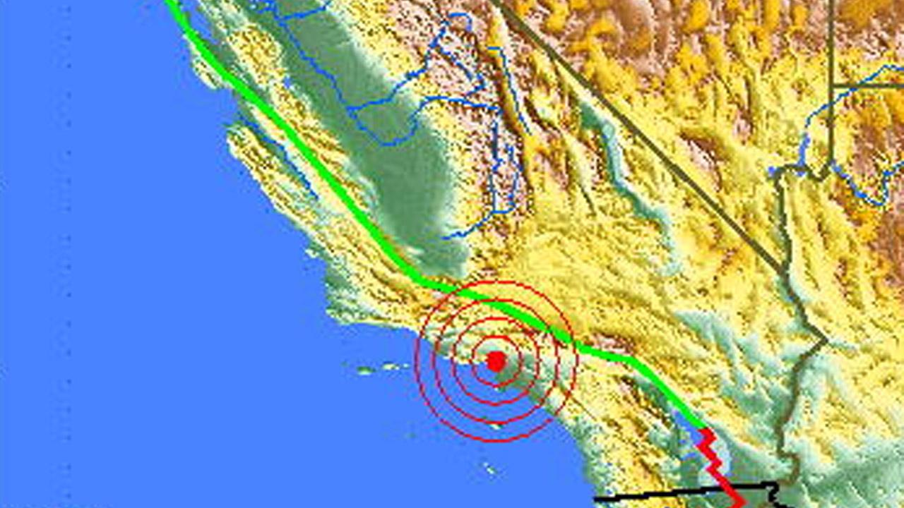 A U.S. Geological Survey map shows the location of an earthquake that struck Beverly Hills on Friday, Sept. 7, 2012.