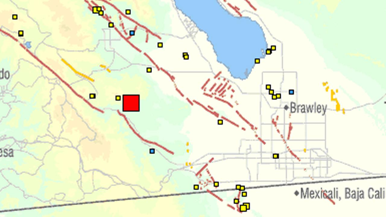 A U.S. Geological Survey map shows the location of a 4.0-magnitude earthquake that struck the San Diego County desert on Saturday, Dec. 22, 2012.