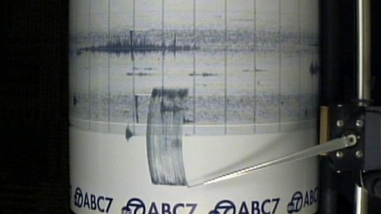 The ABC7 Quake Cam shows a magnitude-5.4 earthquake that struck near La Habra on Friday, March 28, 2014.