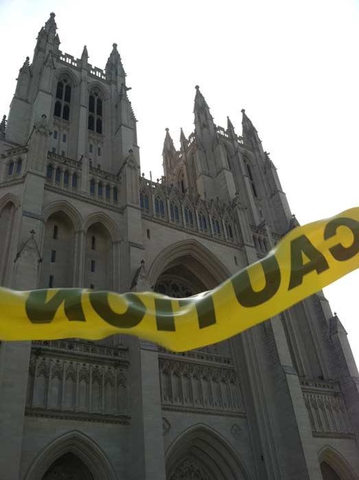 The Washington National Cathedral is shown behind police tape following the 5.8-magnitude earthquake that struck Virginia on Tuesday, August 23, 2011. <span class=meta>(KABC)</span>