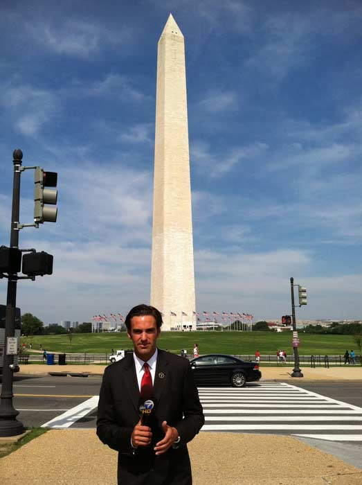 Eyewitness News reporter Elex Michaelson is shown in front of the Washington National Monument in Washington, D.C. on Aug. 24, 2011 following the 5.8-magnitude earthquake that struck Virginia Tuesday, Aug. 23, 2011. <span class=meta>(KABC)</span>