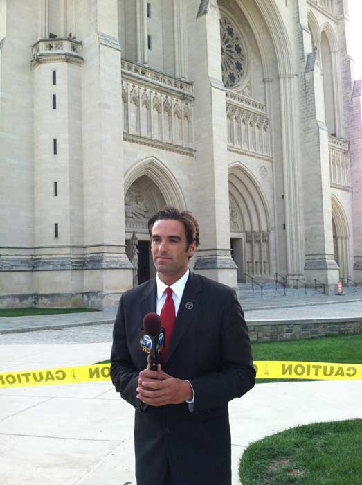 Eyewitness News reporter Elex Michaelson is shown in front of the National Cathedral following the 5.8-magnitude earthquake that struck Virginia Tuesday, Aug. 23, 2011. <span class=meta>(KABC)</span>