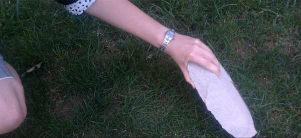 Twitter user  @walkeje posted this photo of a chunk of stone that fell off the Washington National Cathedral following the 5.8-magnitude earthquake that struck Virginia on Tuesday, August 23, 2011. <span class=meta>(twitter.com&#47;walkeje)</span>