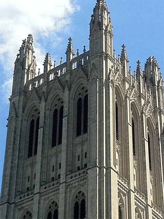 Twitter user @walkeje posted this photo showing structural damage to the corner pinnacles of the Washington National Cathedral following the 5.8-magnitude earthquake that struck Virginia on Tuesday, August 23, 2011. <span class=meta>(twitter.com&#47;walkeje)</span>