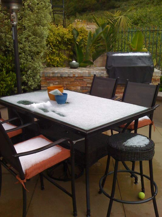 "<div class=""meta ""><span class=""caption-text "">ABC7 viewer Elizabeth Rehm sent in this photo of hail in Mission Viejo, Calif. on Saturday April 9, 2011.  When You Witness breaking news, or even something extraordinary, send pictures and video to video@myabc7.com, or send them to @abc7 on Twitter  (KABC photo/ Elizabeth Rehm)</span></div>"