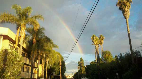 "<div class=""meta ""><span class=""caption-text "">ABC7 viewer Joey Frey sent in this photo of a rainbow at Tarzana, Los Angeles, Calif. on Friday Sept. 30, 2011.  When You Witness breaking news, or even something extraordinary, send pictures and video to video@myabc7.com, or send them to @abc7 on Twitter (KABC photo/  Joey Frey)</span></div>"