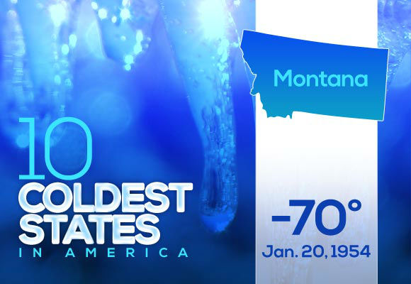 "2. Montana  Big Sky Country residents get the silver ""Any cold you can bear I can bear better"" award, especially if they lived through this arctic blast 60 years ago.  This year's low: -26"