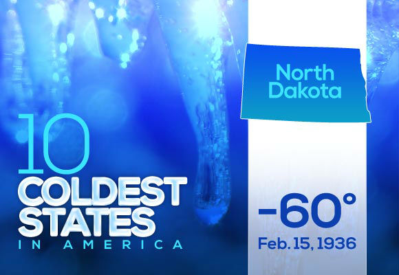 5. North Dakota (tied)  Either it was a typo or someone has a sense of humor, but the temperature for the Grand Forks station was listed as -999 for the week ending January 19. We don't see much of a difference between that and their statewide low in 2014.  This year's (real) low: -33