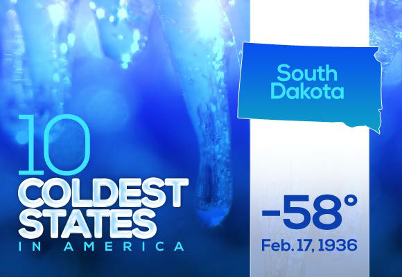 8. South Dakota  South Dakota's record is the latest in the year on the top ten list. So much for going out for Valentine's Day.   This year's low: -27