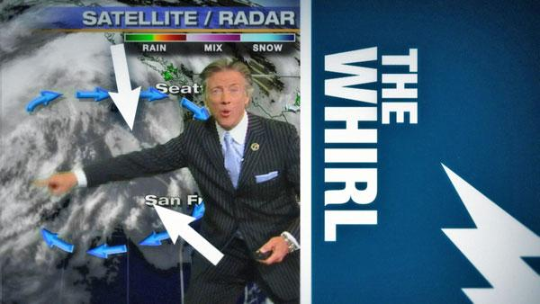 ABC7 meteorologist Dallas Raines demonstrates one of his best moves, 'The Whirl.'