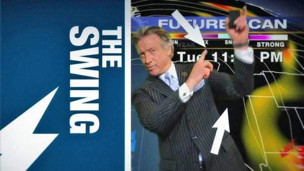 ABC7 meteorologist Dallas Raines demonstrates one of his best moves, 'The Swing.'