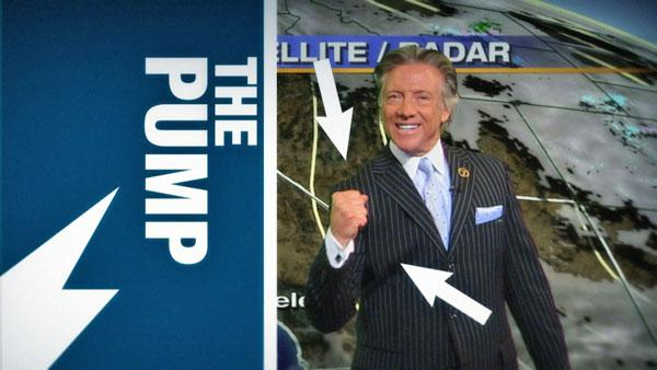 ABC7 meteorologist Dallas Raines demonstrates one of his best moves, 'The Pump.'
