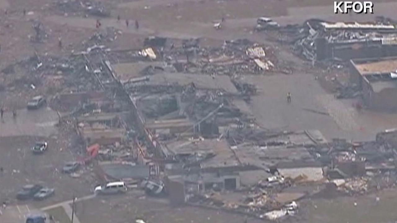 Aftermath of a tornado is seen after it struck a neighborhood in Moore, Okla., on Monday, May 20, 2013.