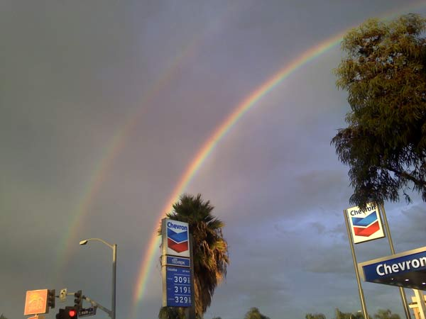 "<div class=""meta ""><span class=""caption-text "">ABC7 viewer Taylor Allen sent in this photo of a double rainbow in Norco following a rain storm on Friday, Oct. 1, 2010.   When you witness breaking news happen, send your photos to video@myabc7.com, or send them to @abc7 on Twitter (ABC7 viewer Taylor Allen)</span></div>"