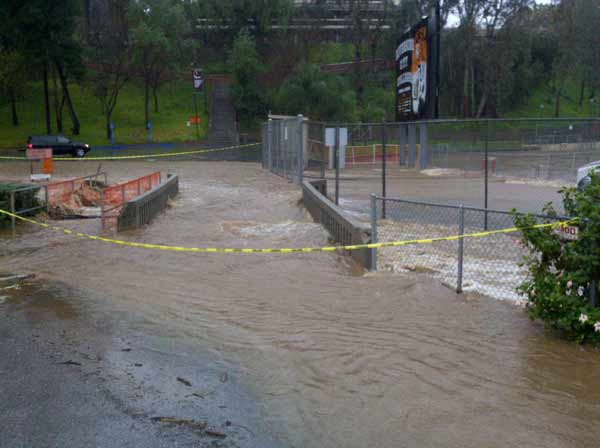 ABC7 viewer Tim Grbavac sent in this photo of flooding at Riverside College in Tequesquite Arroyo on Wednesday, Dec. 22, 2010. When You Witness breaking news, or even something extraordinary, send pictures and video to video@myabc7.com, or send them to @abc7 on Twitter <span class=meta>(ABC7 viewer Tim Grbavac)</span>