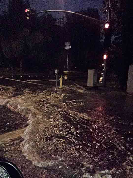 ABC7 viewer Janie Malone sent in this photo of a rain-drenched intersection in Upland on Saturday, March 1, 2014. When You Witness breaking news, or even something extraordinary, send pictures and video to video@abc7.com, or post them to the ABC7 Facebook page or to @abc7 on Twitter  <span class=meta>(Janie Malone)</span>
