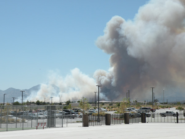 ABC7 viewer Matthew Johnson, vice principal at Oak Hills High School, sent in this photo of a wildfire burning in the Cajon Pass on Friday, Sept. 2, 2011
