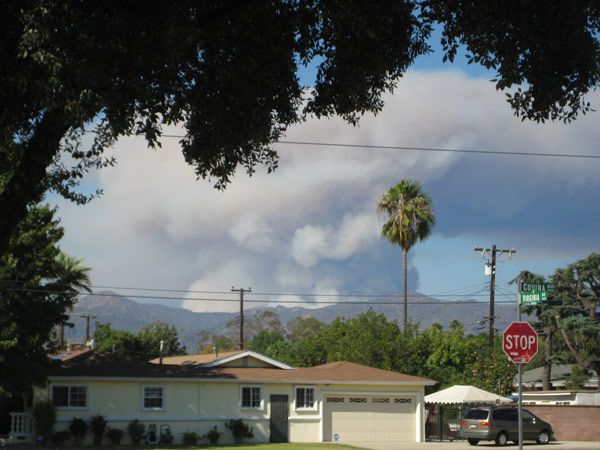 ABC7 viewer Debbie Benedik sent this photo of smoke from a wildfire burning in the San Gabriel Mountains above Glendora on Sunday, Sept. 2, 2012.