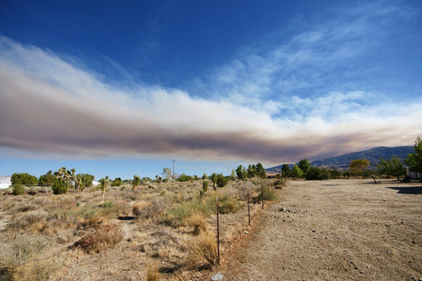 ABC7 viewer Randy Duarte sent this photo of smoke from a wildfire burning in the San Gabriel Mountains above Glendora on Sunday, Sept. 2, 2012.