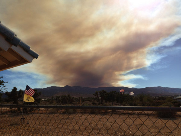 ABC7 viewer Diane Howe sent this photo of smoke from a wildfire burning in the San Gabriel Mountains above Glendora on Sunday, Sept. 2, 2012.