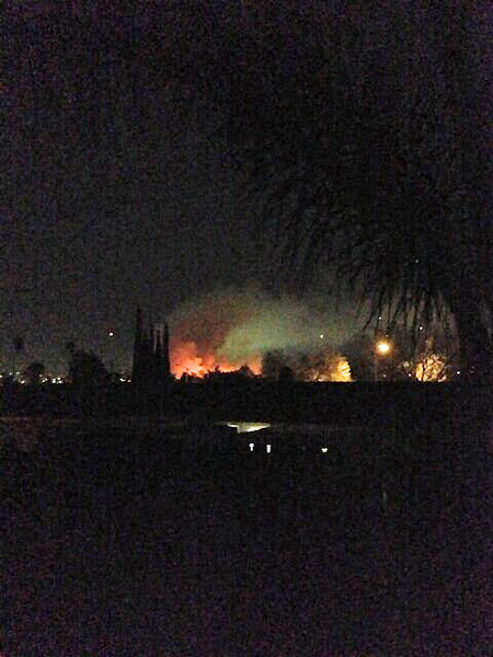 An ABC7 viewer tweeted us this picture of a brush fire burning near homes in Jurupa Valley on Thursday, Feb. 28, 2013. <span class=meta>(twitter.com&#47;drewskii139)</span>