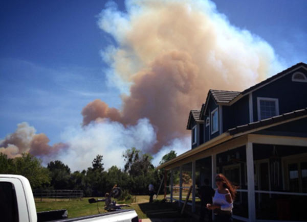 An ABC7 viewer took this photo of a brush fire in Banning in Riverside County on Wednesday, May 1, 2013.