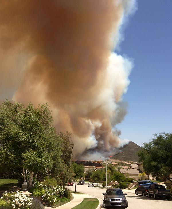 ABC7 viewer Quinn Allan sent in this photo of a wildfire burning near Camarillo on Thursday, May 2, 2013.  When You Witness breaking news, or even something extraordinary, send pictures and video to video@myabc7.com, or send them to @abc7 on Twitter <span class=meta>(KABC-TV &#47; Quinn Allan)</span>