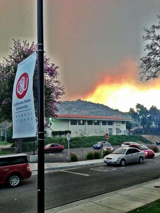 ABC7 viewer Truman Kain sent in this photo from California State University, Channel Islands of a fire burning near the 101 Freeway in Camarillo Springs Thursday, May 2, 2013.  When You Witness breaking news, or even something extraordinary, send pictures and video to video@myabc7.com, or send them to @abc7 on Twitter <span class=meta>(KABC-TV &#47; Truman Kain)</span>
