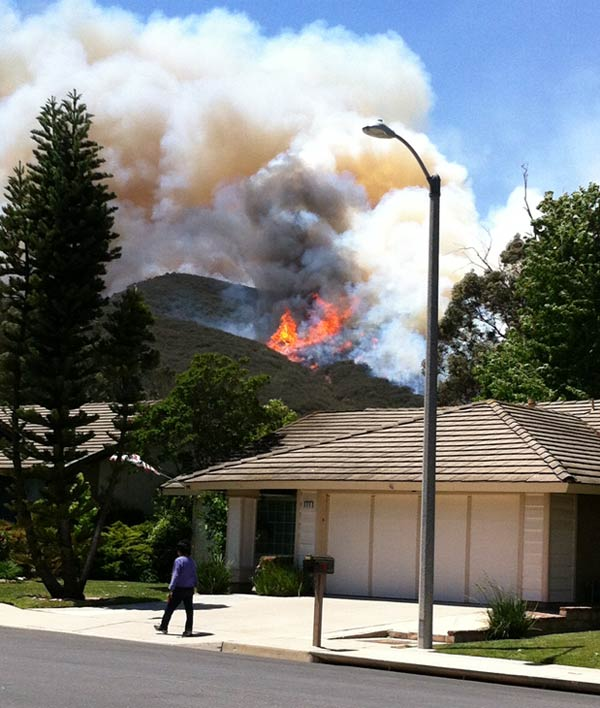ABC7 viewer Rosemarie Hanssen sent in this photo of a wildfire burning near Newbury Park on Thursday, May 2, 2013.  When You Witness breaking news, or even something extraordinary, send pictures and video to video@myabc7.com, or send them to @abc7 on Twitter <span class=meta>(KABC-TV &#47; Rosemarie Hanssen)</span>