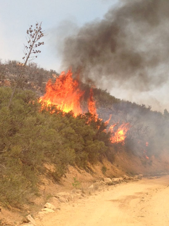 "<div class=""meta ""><span class=""caption-text "">The Springs Fire can be seen from Deer Creek near Malibu on Friday, May 3, 2013.</span></div>"
